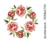 vintage flower wreath. peony... | Shutterstock . vector #555861754