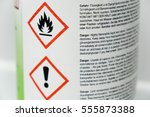 warning signs on a bottle  | Shutterstock . vector #555873388