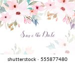 watercolor floral template for... | Shutterstock . vector #555877480
