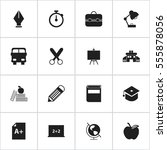 set of 16 editable school icons.... | Shutterstock .eps vector #555878056