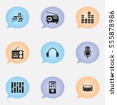 set of 9 editable media icons....