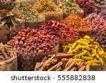 spices and herbs being sold on... | Shutterstock . vector #555882838