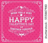 greeting card on heart... | Shutterstock .eps vector #555887980