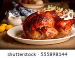 roasted turkey   Shutterstock . vector #555898144