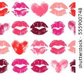 seamless pattern with lipstick... | Shutterstock .eps vector #555900748