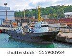 Trawler Ship In Harbor  Black...