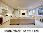 chic basement features a gray... | Shutterstock . vector #555911128