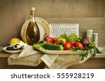 still life with a recipe and... | Shutterstock . vector #555928219