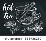 cup of tea vector.hand drawn...   Shutterstock .eps vector #555936250