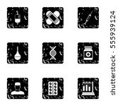 diagnosis icons set. grunge... | Shutterstock . vector #555939124