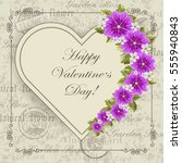 happy valentines day lettering... | Shutterstock .eps vector #555940843