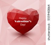 red abstract polygonal heart on ... | Shutterstock .eps vector #555940864