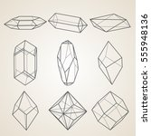 set of geometric crystals.... | Shutterstock .eps vector #555948136