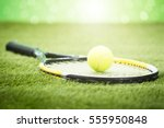 close up of tennis racket with... | Shutterstock . vector #555950848