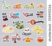 set of funny stickers for... | Shutterstock .eps vector #555955216
