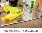 close up of woman hand cleaning ... | Shutterstock . vector #555960268