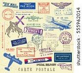 vector document stamp set.... | Shutterstock .eps vector #555962014