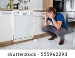 young man shocked on seeing... | Shutterstock . vector #555962293