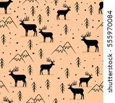 seamless pattern with wild deer   Shutterstock .eps vector #555970084