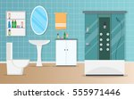 bathroom interior vector... | Shutterstock .eps vector #555971446