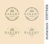 bakery logo vintage design... | Shutterstock .eps vector #555979606