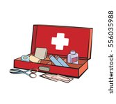 opened first aid box in color... | Shutterstock .eps vector #556035988