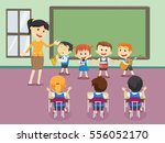 young teacher with children... | Shutterstock . vector #556052170