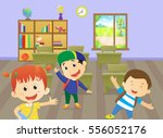 illustration of a happy kids... | Shutterstock .eps vector #556052176