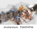 abstract beautiful man playing... | Shutterstock . vector #556054936