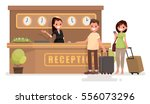 check into a hotel. young... | Shutterstock .eps vector #556073296
