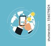 e commerce and m commerce flat... | Shutterstock .eps vector #556079824