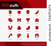 red stuffs vector icons set on... | Shutterstock .eps vector #556091674