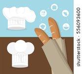 breakfast baguettes hat chef... | Shutterstock .eps vector #556093600