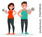 fitness couple. man and woman... | Shutterstock .eps vector #556098034