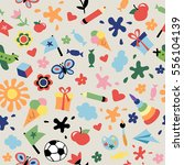 kids seamless pattern with many ... | Shutterstock .eps vector #556104139