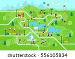 Park map infographic elements in flat vector design. People spend time relax in nature. Men, women and children rest in the park, jog, ride the bicycle, skateboard. Park map with tree, lamp, bench. | Shutterstock vector #556105834