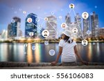 woman sitting in the city park... | Shutterstock . vector #556106083