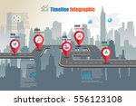 design template  city timeline... | Shutterstock .eps vector #556123108