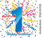 first birthday sign with... | Shutterstock .eps vector #556124230