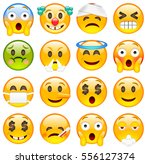 set of emoticons. sixteen smile ... | Shutterstock .eps vector #556127374
