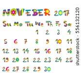 cute november 2017 calendar for ...   Shutterstock .eps vector #556132120