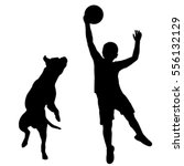 Stock vector silhouette of boy and dog playing together 556132129