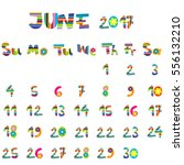 cute june 2017 calendar for kids   Shutterstock .eps vector #556132210