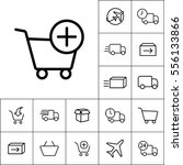 thin line supermarket trolley... | Shutterstock .eps vector #556133866