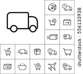 thin line delivery truck icon...