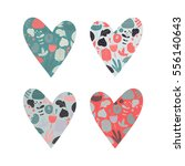 set of multicolored hearts... | Shutterstock .eps vector #556140643