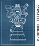 rocket engine drawing on black... | Shutterstock .eps vector #556142620