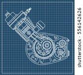 drawing an internal combustion... | Shutterstock .eps vector #556142626