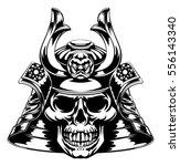 a skeletal skull face samurai... | Shutterstock .eps vector #556143340