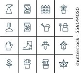 set of 16 plant icons. includes ... | Shutterstock . vector #556144030